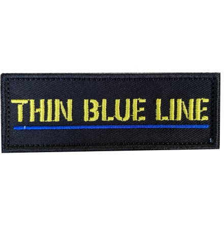 Tygmärke Thin Blue line med gul text