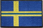Svensk Flagga med blått streck och kardborre